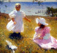 Two Sisters by American Impressionist Frank Weston Benson.