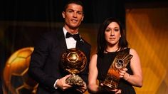 FIFA Ballon d'Or winner Cristiano Ronaldo of Portugal and Real Madrid and FIFA Women's World Player of the Year winner Nadine Kessler of Germany and VfL Wolfsburg pose with their awards