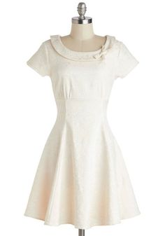 Tickling the Ivories Dress in Creme - Wedding, Bride, White, Solid, Bows, Party, A-line, Cap Sleeves, Scoop, Mid-length
