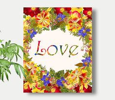 Love PrintDried Flower ArtFaith HopeLove Wall ArtLove