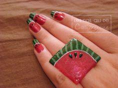 Nail art pastèque