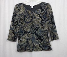Women DRESSBARN Black/Blue/Gold Floral Scoop Neck ¾ Sleeve Blouse Top Size Small #dressbarn #Blouse #CareerCasual