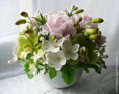 Купить Букет с орхидеями из полимерной глины - разноцветный, букет цветов, розы из полимерной глины