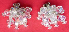 Silver-tone AB Crystal Pompom Clip On Earrings Marked LAGUNA #Laguna #DropDangle