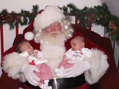 Josie & Kaylee (6 weeks old) Sparta, Illinois 2010 They slept through their 1st visit to Santa Claus.