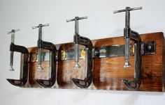 industrial edge, storage ideas, coat room, entryway, foyer, mud room, rustic, urban, innovative. Industrial C Clamp coat rack, Urban Wood & Steel, etsy.com/shop/urbanwoodandsteel. MORE INFO at http://mountainliving.com/article/one-entry-two-ways