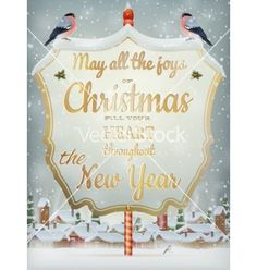 Christmas vintage street with signboard eps 10 vector by beholdereye on VectorStock®