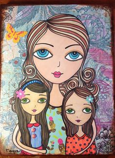 A mother's love Art by Mayra Arroyo Mother Daughter Art, Mother Art, Bff Drawings, Arte Pop, Mothers Love, Beautiful Paintings, Rock Art, Female Art, Art Girl