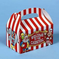 "Big Top Treat Boxes. Printed with ""Welcome to the Carnival"" these treat boxes feature a clown, elephant and colorful red-stripes. These disposable containers ar"