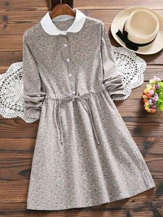 - Floral Printed Peter Pan Collar Casual A-. Stylish Dresses, Modest Dresses, Modest Outfits, Cute Dresses, Casual Dresses, Modest Clothing, Fashion Wear, Modest Fashion, Hijab Fashion