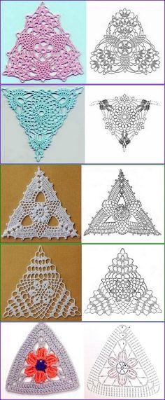 Collection of triangular motives, schemes Crochet Motif Patterns, Crochet Symbols, Crochet Headband Pattern, Crochet Lace Edging, Crochet Triangle, Crochet Cap, Granny Square Crochet Pattern, Freeform Crochet, Crochet Squares