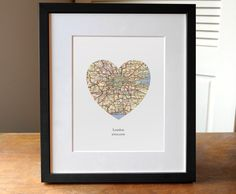 London Heart Print - London Map Print - Heart Map Print - Choose any hometown - Custom Valentines Gift - Valentines Day Print