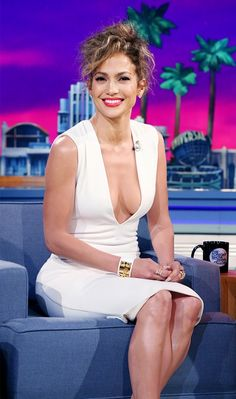Jennifer Lopez looked radiant for her Tonight Show appearance in this plunging white Solace London dress // #celebritystyle