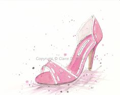Pink Manolo  Original watercolor 8x10 by claireswilson on Etsy, $65.00