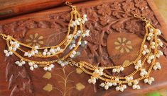 Awesome Antique finish Designer bridal Pearl Ear side Chain -Dj13946