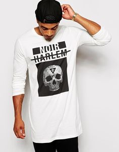 Enlarge ASOS Super Longline Long Sleeve T-Shirt With Skull Print. This totally depends on your style but this is a great extra long t-shirt. Might be a bit over casual.  Check out our store for different style t-shirts at www.threadmarkz.storenvy.com