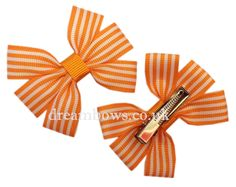 Orange and white striped grosgrain ribbon hair bows on alligator clips - £2.50 a pair #orangehairbows #girlsstripedbows #bows #ukhairbows #bowsforsale