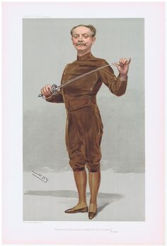 Fencing Print   Date:  09-Mar-1905   The Vanity Fair Caricature of    Mr. Egerton  Castle  With the caption of  :  He insists that his pen is mightier than his sword  By the artist:  SPY     Visit www.theakston-thomas.co.uk for many more Vanity Fair Prints, we have one of the largest collections in the world.