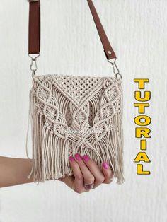 Brown macrame crossbody bag with wooden boho side panels Macrame handbag Video listing