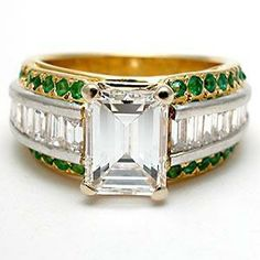 Emerald Cut Engagement Rings In Yellow Gold Mens 44