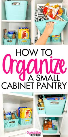kitchen pantry cabinets Organizing a small pantry cabinet is super easy when you use baskets to organize your food. These tips will help you organize a small pantry cabinet. Small Pantry Cabinet, Small Kitchen Pantry, Pantry Cupboard, Kitchen Pantry Cabinets, Cupboards, Kitchen Reno, Kitchen Ideas, Deep Pantry Organization, Wall Organization