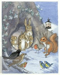 A family of rabbits and other woodland creatures in the snow. - Illustration by Molly Brett. Beatrix Potter, Bunny Drawing, Christmas Animals, Christmas Bunny, Winter Art, Winter Night, Rabbit Art, Fairytale Art, All Nature