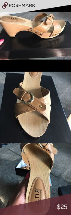 Ladies Sandal Tan Slip On Sandal w/small heel. Comfortable. Worn a few times. No damage. a.n.a Shoes Mules & Clogs