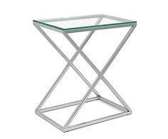 Table d'appoint CORNER, argenté et transparent - H70
