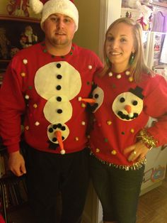 Homemade ugly Christmas sweaters. Snowman sweaters. Couples ugly Christmas sweaters
