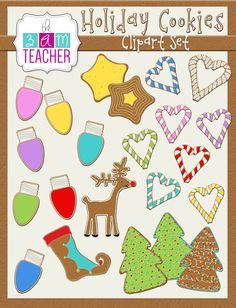 Colorful, Gingerbread Holiday Cookie Clipart images by The 3AM Teacher!! $5.00