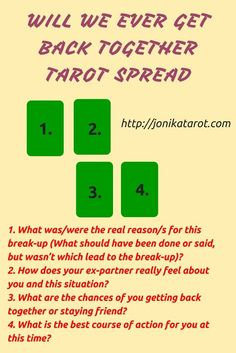 #Tarot #Spread, Relationship Question: Will We Ever Get Back Together. http://jonikatarot.com