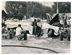 Credit: Robert Blaski/Sun Times Auto accident, 23 May 1962