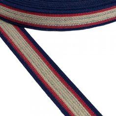 Ιμάντας ζώνης βαμβακερός μπλε με Μπεζ - Κόκκινη ρίγα 30mm