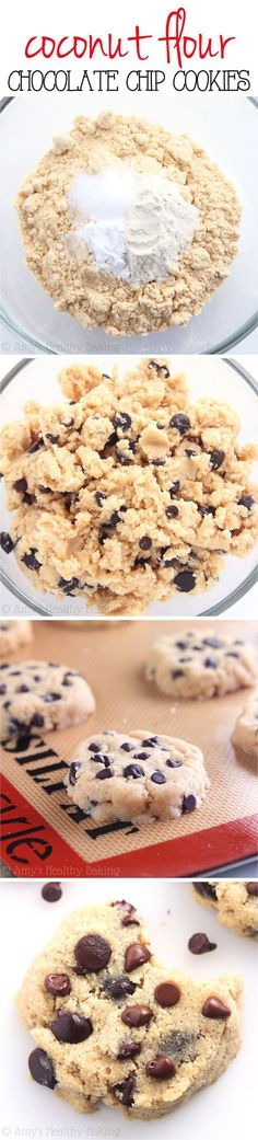 Healthy Coconut Flour Chocolate Chip Cookies -- SO chewy & just 74 calories! Low-carb, sugar-free, gluten-free & clean eating too!