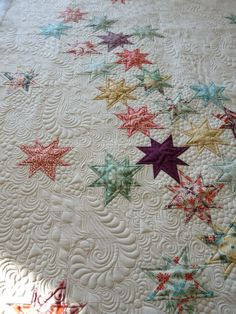 Falling Stars quilt, Beautiful Machine quilting by Margretgunn