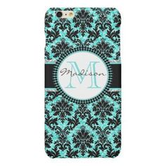 Turquoise blue glitter & black damask Name Matte iPhone 6 Plus Case - glitter gifts personalize gift ideas unique