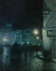 Rynek Starego Miasta w nocy - Józef Pankiewicz