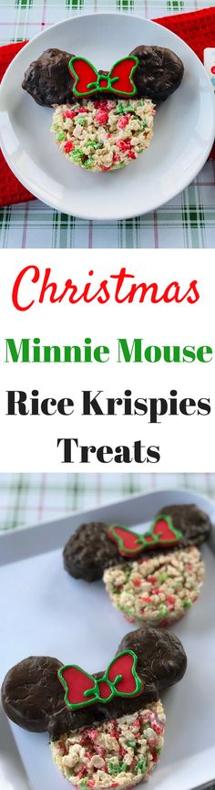 Minnie Mouse Christmas Rice Krispies Treats! Easy to make and Disney Inspired. The best type of holiday baking! #Christmasbaking #Christmas #Disney