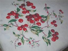 vintage cherry tablecloth - I found this exact Wilendur tablecloth at a flea market for $5, took it home,washed it, and the white is bright and the cherries are cheery, I think it was never used!