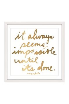 Impossible Until It's Done White Framed Wall Art