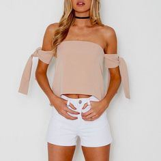 Leila Whimsical Tube Blouse - The Wild Flower Shop    Off Shoulder look add on an oh so pretty touch, creating a sweet yet fluttering silhouette • Back zipper closure • Seperate neck tye • Fully lined Weight: 240 gram Material: Chiffon   $27
