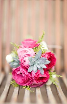 { pink ranunculus bouquet and succulents. My florist suggested these for my bouquet :) also having poppy flowers! Did I mention my florist is awesome? Bouquet Succulent, Ranunculus Bouquet, Pink Succulent, Pink Bouquet, White Ranunculus, Small Bouquet, Peony, Deco Floral, Arte Floral