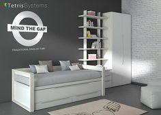 Cama compacta deslizante  armario y estanterías