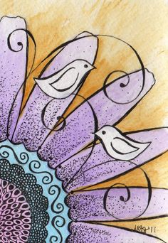 do the birds as a resist and watercolor over them - Sitting by EmBoundArt #artjournaling #watercolor