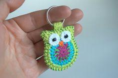 Crochet owl keychain green owl key ring by MikiJensen