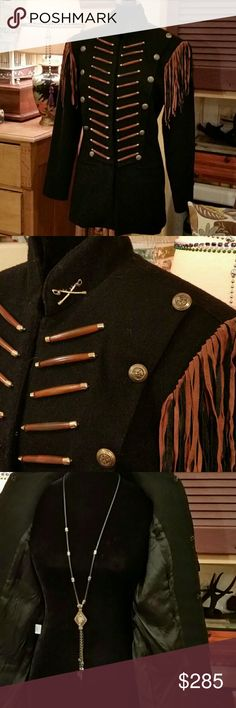 "Double D Ranch Wool Cavalry Jacket Western Cowgirl Double D Ranch Jacket Black Wool w Pig Suede Fringe Western Cavalry Long Coat  Civil War Soldier Style Cowgirl Swag Boho Chic Clothing. Size L 24 wood and brass and 12 brass detailed button embellishments.  Large hook and eye closures.  8 inch pigskin Suede shoulder fringe. Tapered at waist with back pleat. Please use measurements below for the most accurate fit. Measurements taken flat: Pit to pit 18"" Shoulders 18"" Shoulder to cuff 23""…"