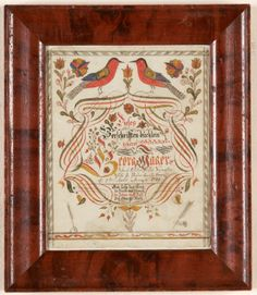 "Vorschrift-title page of a writing copy book. Att. to Johann Adam Eyer Dimensions: 8"" X 6 1/4""  Date / Circa: c. 1789  Ma..."