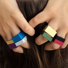 Kalder Wide Square Rings by Sara Domenech