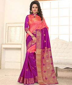Buy Peach Banarasi Silk Saree With Blouse 76395 with blouse online at lowest price from vast collection of sarees at Indianclothstore.com.