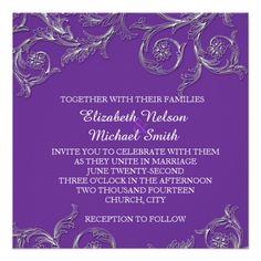 Luxury Purple Floral Ornaments Wedding Invite